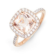 Morganite Cushion Cut Rose Gold Engagement Ring