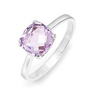 February Amethyst Cushion Cut Gemstone Silver Ring