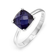 December Lolite Cushion Cut Gemstone Silver Ring
