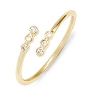 Crossover CZ Bezel Gold Stackable Ring