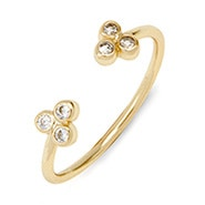 Bezel CZ Cluster Gold Stackable Cuff Ring