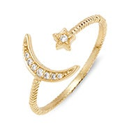 Moon and Stars CZ Gold Stackable Cuff Ring
