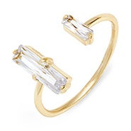 Baguette CZ Gold Stackable Cuff Ring