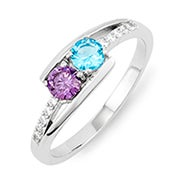 Petite 2 Stone Silver Birthstone Mother's Ring