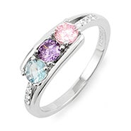 Petite 3 Stone Silver Birthstone Mother's Ring