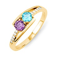 Petite 2 Stone Gold Birthstone Mother's Ring