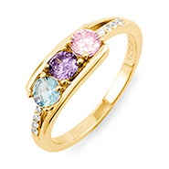 Petite 3 Stone Gold Birthstone Mother's Ring