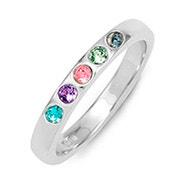 5 Stone Birthstone Silver Ring