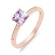 Cushion Cut Birthstone Pave Band Rose Gold Ring