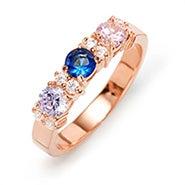 Custom 3 Stone Birthstone CZ Rose Gold Eternity Ring