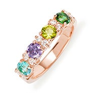 Custom 4 Stone Birthstone CZ Rose Gold Eternity Ring