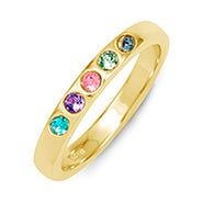 5 Stone Birthstone Gold Ring
