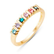 6 Stone Birthstone Mother's Gold Eternity Ring