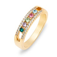 Five Stone Birthstone CZ Gold Mother's Ring