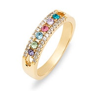 Six Stone Birthstone CZ Gold Mother's Ring
