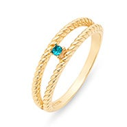 Custom Birthstone Twisted Rope Gold Family Ring