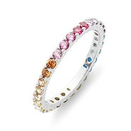 Thin Rainbow CZ Sterling Silver Eternity Band