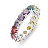 Rainbow CZ Eternity Band