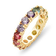 Rainbow CZ Gold Eternity Band