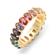 Oval Cut Rainbow CZ Gold Eternity Band