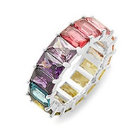 Emerald Cut Rainbow CZ Sterling Silver Eternity Band