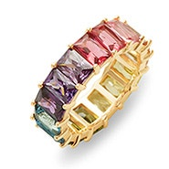 Emerald Cut Rainbow CZ Gold Eternity Band