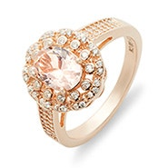 Morganite Oval Cut Rose Gold Engagement Ring