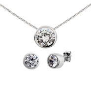 Designer Style Silver Bezel Set CZ Earrings and Necklace Set