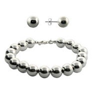 Designer Style 10mm Bead Bracelet and Earrings Set