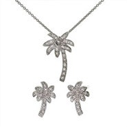 Designer Style Cubic Zirconia Palm Tree Necklace and Stud Earring Set