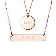 Bar and Round Tag Layered Pendant Set in Rose Gold