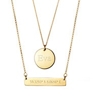 Custom Coordinate Gold Bar and Round Tag Layered Pendant Set