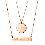 Custom Coordinate Rose Gold Bar and Round Tag Layered Pendant Set