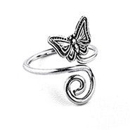 Butterfly Toe Ring in Sterling Silver